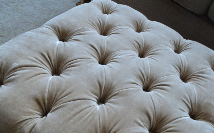 Re-upholstered deep button stool